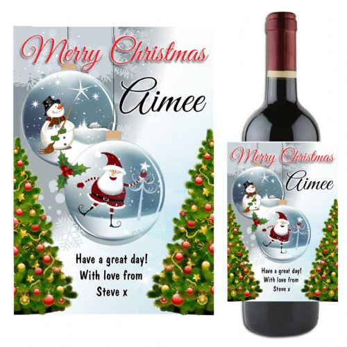 Personalised Christmas Xmas Wine / Champagne Bottle Label Gift N121